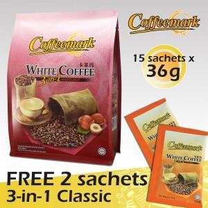 Coffeemark White Coffee 3-in-1 Hazelnut @ 15's x 36g [FREE 2 SACHETS x 36g 3-in-1 Classic]