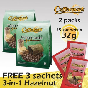 Coffeemark White Coffee 3-in-1 Less Sugar @ 15's x 32g [FREE 3 SACHETS x 36g 3-in-1 Hazelnut] [Bundle of 2]