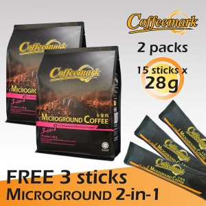 Coffeemark Microground Coffee 3-in-1 @ 15's x 28g [FREE 3 STICKS x 20g Microground Coffee 2-in-1] [Bundle of 2]